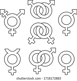 Sexual orientation icon in outlines