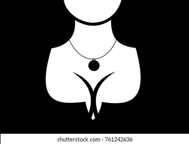 Sexual and physical attractiveness and beauty of beautiful woman with big breast, attractive cleavage and decolletage. Jewel and necklace on the neck of lady. Graphic vector illustration