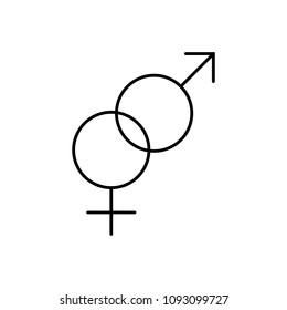 sexual relationship symbol line black