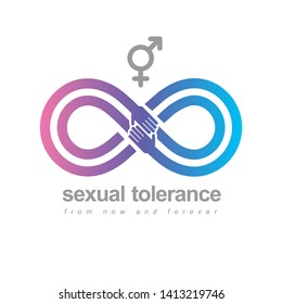 Sexual Tolerance hetero and homosexuals conceptual symbol, Zero tolerance, vector symbol created with infinity loop sign and two hands of people of different orientation