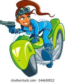 Sexy Action Hero Spy Girl with Gun in Motorcycle Car Chase