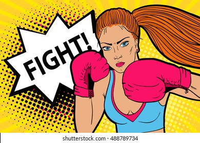 Sexy aggressive woman boxer in boxing mittens ready to fight. Vector hand-drawn colorful  background in pop art retro comic style.