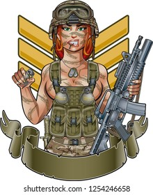 sexy army girl with assault rifle