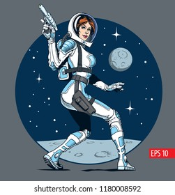 Sexy astronaut girl with blaster gun. Classic comic book style vector illustration.