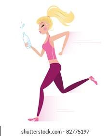 Sexy blond hair running woman. Lifestyle Vector Illustration.