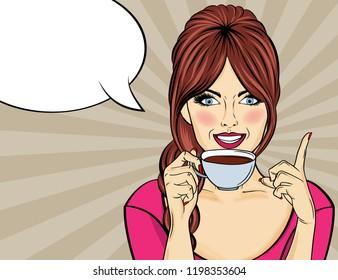 Sexy blonde Popkunst Frau mit Kaffeetasse. Werbeplakat im Comic-Stil. Vektorgrafik