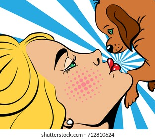 Sexy blonde pop art woman kissing a cute puppy, who is holding it. Vector background in comic style retro pop art. Face close-up.