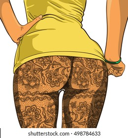 Sexy booty girls in Lacy pantyhose. Vector illustration