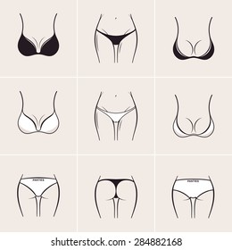 Sexy bra and panties, icons and logos. Beautiful elements of women underwear