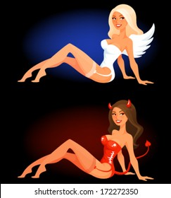 sexy cartoon woman in angel or devil costume