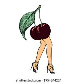 Sexy cherry with a green leaf wearing high hills couture shoes, walking on Fashion show podium. T-shirt, hoodie, sweatshirt, pattern, mug artwork.