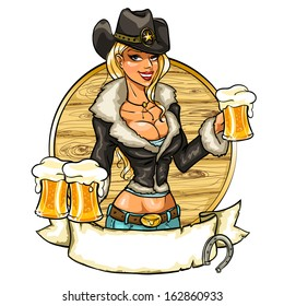 Sexy cowgirl with beer