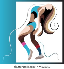 Sexy dancer woman. Go-go girl. Suitable for invitation, flyer, sticker, poster, banner, card,label, cover, web. Vector illustration.
