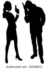 sexy detective woman holding gun, drunk man standing