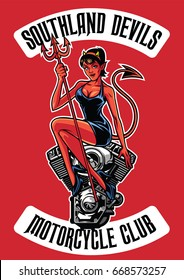 sexy devil with motorcycle engine