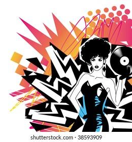 Sexy DJ With Vinyl