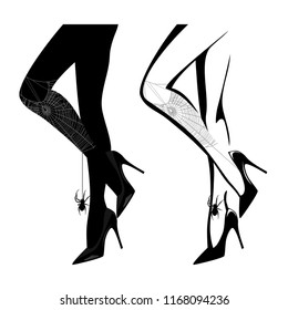 sexy female legs wearing high heels and halloween style stockings with spider web silhouette - black and white vector design