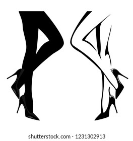 sexy female legs wearing high heeled shoes - black and white vector design set