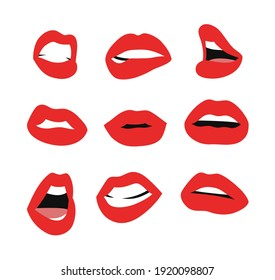 Sexy Female Lips with Matt Red Lipstick. Flat Style Vector Fashion Illustration Woman Mouth. Gestures Collection Expressing Different Emotions