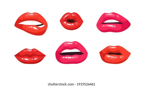 Sexy Female Lips with Red Lipstick. Vector Fashion Illustration Woman Mouth Set.  Gestures Collection Expressing Different Emotions