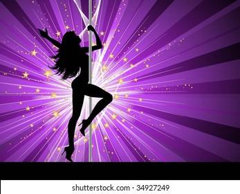 Sexy female pole dancing