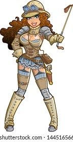 Sexy Female Steampunk Safari Jungle Explorer with Pith Helmet and Riding Crop