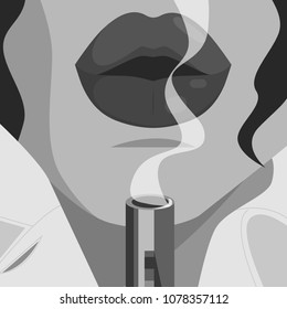 Sexy Film Noir Lips and Smoking Gun