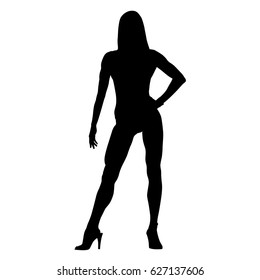 Sexy fitness woman standing on high heels, hand on her hip, isolated vector silhouette