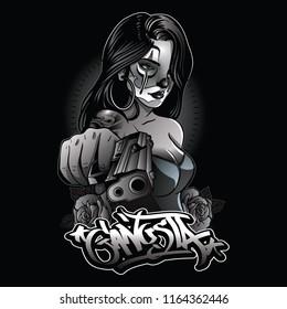sexy gangsta girl illustration