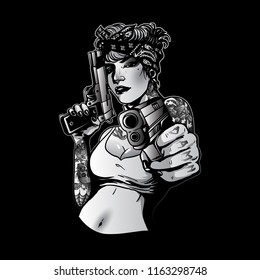 sexy gangsta lady pose with guns
