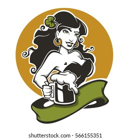 Sexy girl and beer, vector emblem for you Saint Patrick day design