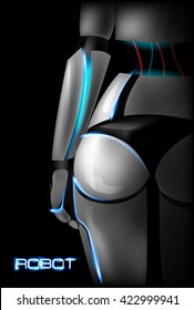 Sexy girl cyborg. Back view. Part of the body. Buttocks. Vector illustration.