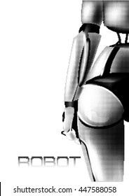 Sexy girl cyborg. Back view. Part of the body. Buttocks. Halftone Vector illustration.