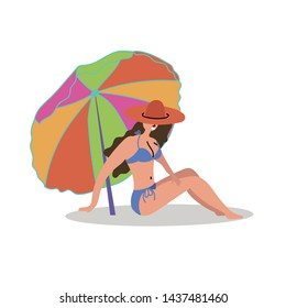 Sexy girl in a hat sunbathes on the beach under a deck chair. Mass tourism. Inspire to travel. Vector editable file eps 10