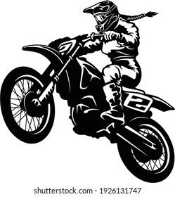 Sexy Girl and Motocross Motorcycle - Enduro, Freestyle - Motocross Extreme Sport, Freestyle Girl - Clipart, Vector Silhouette