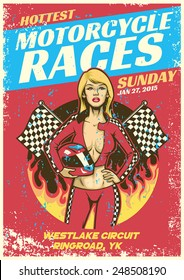 sexy girl in motorcycle race event poster in grunge textured sty