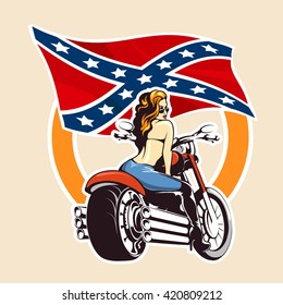 Sexy Girl ride a motorcycle against confederate flag. Bikers Club or bikers festival emblem or sticker.