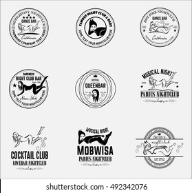 Sexy Girls Nightclub Logos and Badges Strip club labels templates. Design elements for logo, label, emblem, badge, sign. Design element in vector.