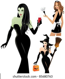 Sexy Halloween Costumes A trio of sexy women dressed as a witch, vampiress and French maid. EPS 8 vector is grouped for easy editing, with no open shapes, strokes or transparencies.