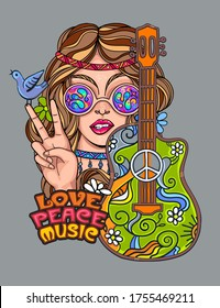 Sexy hippie girl with a guitar in glasses shows victory sign and peace and love. Vector colorful background in pop art retro comic style.  Symbol pacificism freedom and love