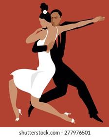 Sexy Hispanic couple dancing Argentine tango, vector illustration, no transparencies, EPS 8