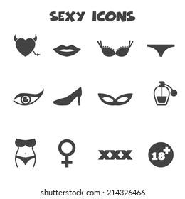 sexy icons, mono vector symbols