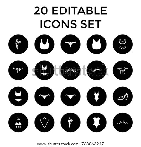 c9c185a2fe Sexy icons. set of 20 editable filled and outline sexy icons such as panties  with heart
