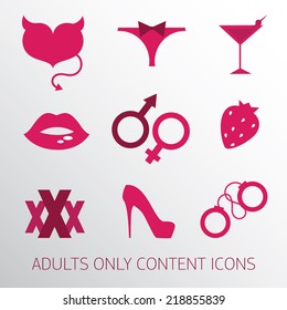 Sexy icons set for adult only content, vector illustration