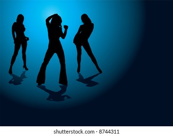 Sexy illustration of three dancing women on a blue and black background