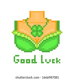 Sexy leprechaun girl waitress breast in a green bra and shamrock pendant necklace, pixel art Saint Patrick's Day character isolated on white. Good luck wish. 8 bit slot machine/video game graphics.