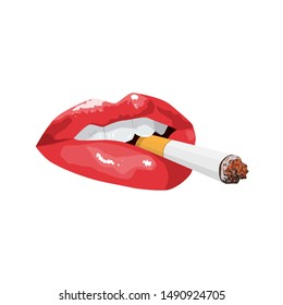 sexy lips with cigarette. Attractive female mouth.quit smoking.bad habit. print for T-shirt or mask  or tattoo. isolated on white background
