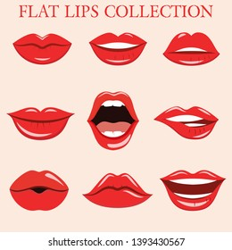 Sexy lips collection in flat style. Vector.