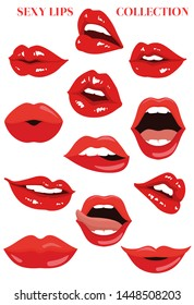 Sexy lips collection. Vector set.