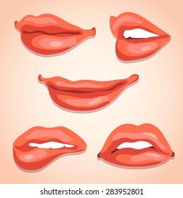 Sexy Lips Illustration Set